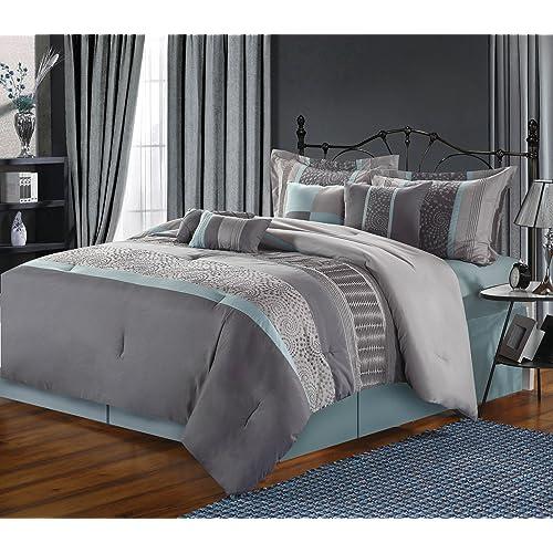 Buy Chic Home 8 Piece Euphoria Embroidered Comforter Set Queen Grey Online In Mauritius B072197r2y