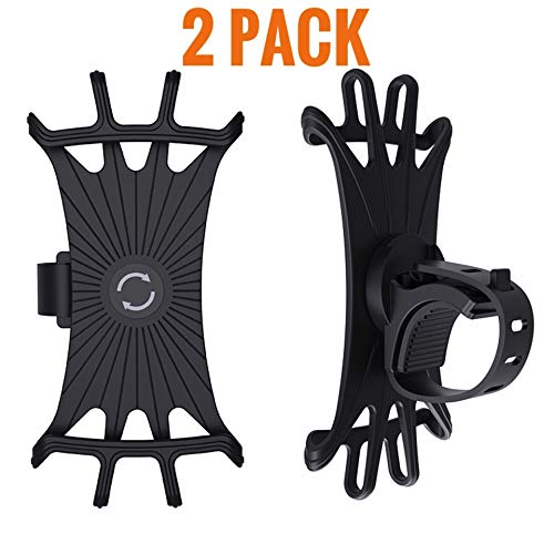 fits iPhone 11 Universal Bike Phone Mount 360 Degree 4.0-6.2 Inches 2 Pack Galaxy S10//S9//S8//S7 XS Max Silicone Holder Adjustable for Bicycle Motorcycles Handlebar XS XR X 6S//7//8 Plus