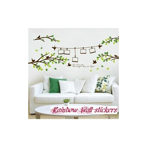 Buy Rainbow Wall Stickers Wall Decor Removable Decal Sticker Green Branches With Love Birds Photo Frames Online In Mauritius B008452sqw