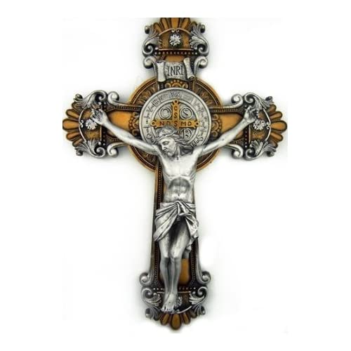 Buy St Saint Benedict Crucifix 2 Tone Wall Cross 10 Inch Religious Gift Online In Mauritius B01cflnd6e