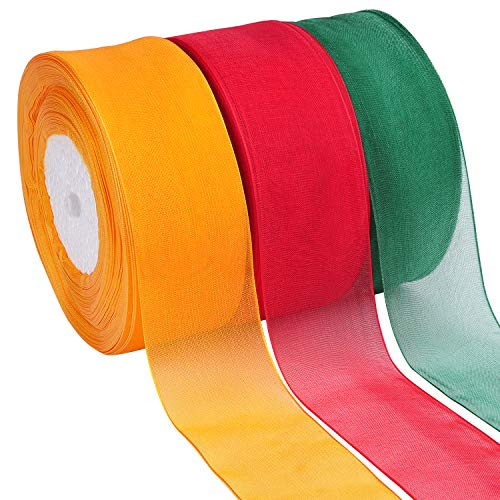 2 Inch Wide 11 Yards//Roll Livder 2 Rolls Christmas Glitter Ribbon for Christmas Tree Decorations Gift Wrapping Gold//Red