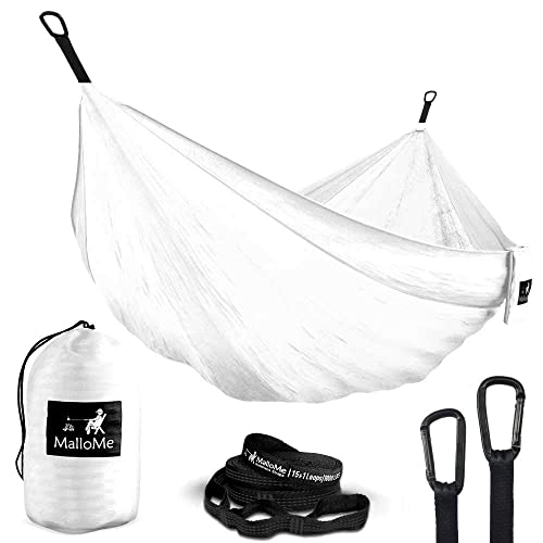 MalloMe Double /& Single Portable Camping Hammock Free 2 Carabiners Parachute Lightweight Nylon with Hammok Tree Straps Set 2 Person Equipment Kids Accessories Max 1000 lbs Breaking Capacity