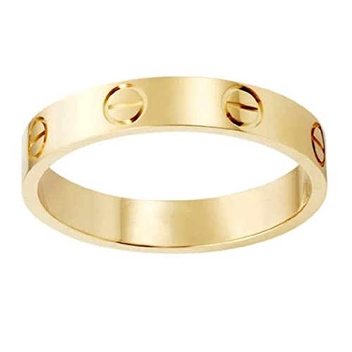 QHTSYMQ Love Rings Promise with Screw Design Best Gifts for Love Valentines Day Promise Engagement Wedding Steel Ring-Gold