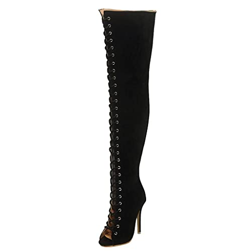 Kauneus Womens Plus Size Classic Lace Up Over The Knee Boots Open Toe Stiletto Wide Calf Fashion High Boots Buy Products Online With Ubuy Mauritius In Affordable Prices B07zql3w9z