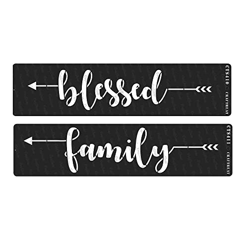 Crafting Tile Welcome to Our Home /& This is Our Happy Place Family Word DIY and Printing on Paper | Reusable Painting Template for Home Decor Blessed 4 pcs Fabric 3X12 CrafTreat Stencil