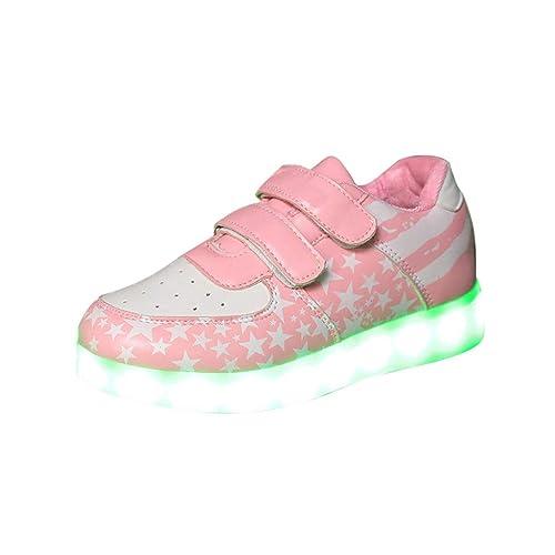 Efaster Kids Baby Boys Girls Cartoon Dinosaur Shining Shoes LED Luminous Sneakers Sport Shoes