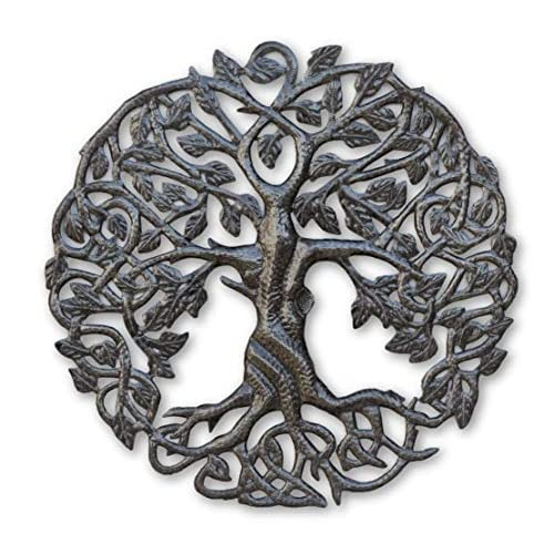 Buy Its Cactus Small Tree Of Life Wall Art 17 25 Inches Round Haitian Metal Artwork Decor Celtic Family Trees Modern Plaque Handmade In Haiti Fair Trade Certified Online In Mauritius B07m9zml2z