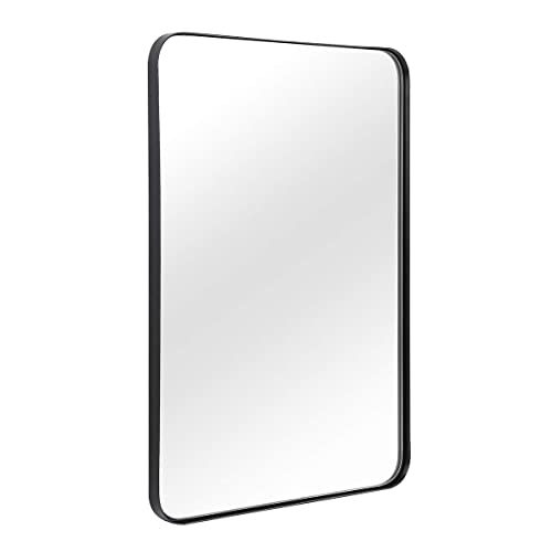 Buy Wall Mirror For Bathroom Mirror For Wall With Black Metal Frame 22 X 30 Decorative Wall Mirrors For Living Room Bedroom Glass Panel Rounded Corner Hangs Horizontal Or Vertical Online In Mauritius