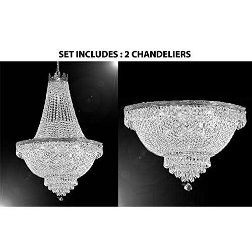 Semi Flush Chandelier Lighting H18, French Empire Crystal Semi Flush Chandelier