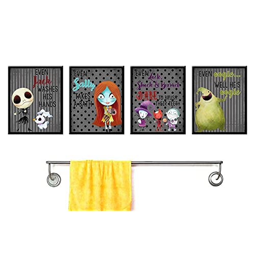 Buy Silly Goose Gifts Even A Nightmare Will Brush Teeth Take A Bath Wash Hands Bathroom Character Wall Art Decor Set Of Four Online In Mauritius B07dlnmtbk