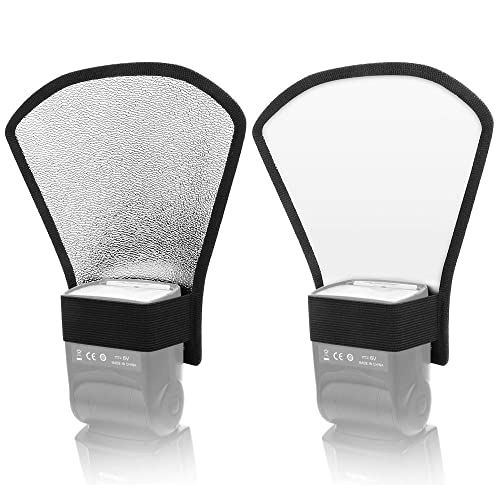 Orsera Lash Diffuser Reflector,Premium Two-Sided Silver//White for Canon 2 Pack Nikon and All Speedlight Flashes