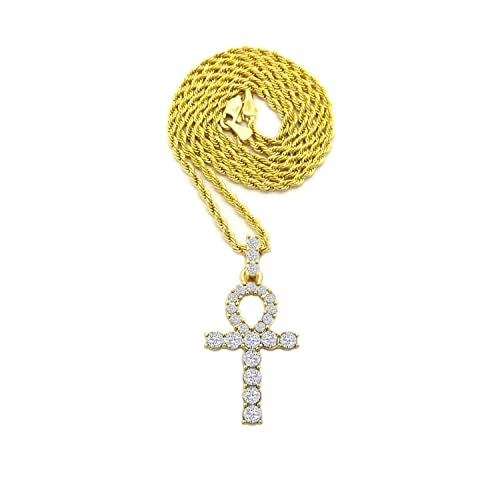 Silver-Tone Iced Out Hip Hop Bling Pyramid and Ankh Cross Pendant with 24 Tennis Chain and 24 Rope Chain