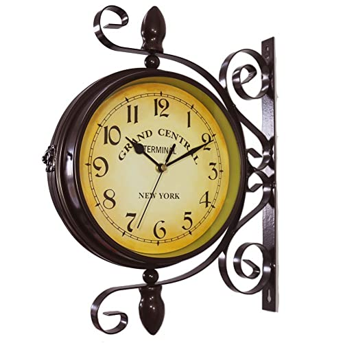 Buy Wooch Wrought Iron Antique Look Brown Round Wall Hanging Double Sided Two Faces Retro Station Clock Round Chandelier Wall Hanging Clock With Scroll Wall Side Mount Home Décor Wall Clock 8 Inch Online