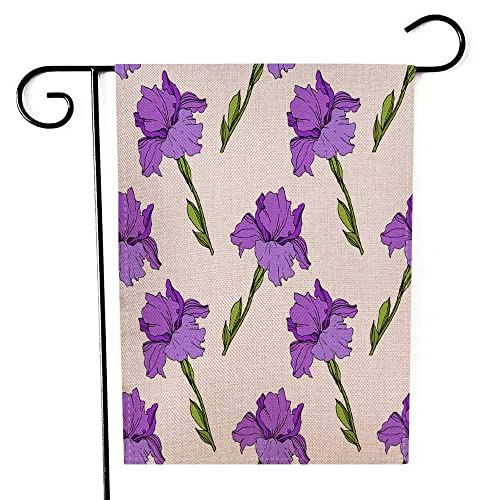 Capsceoll Garden Flag Outdoor 12 5x18 Inch Double Sided Purple Iris Floral Botanical Flower Wild Spring Leaf Wildflower Isolated Engraved Ink Art Decorative Yard Flag For Outdoor Garden Yard Buy Products Online With