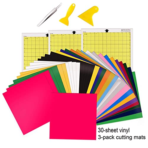 Hiraliy Heat Transfer Vinyl Bundle 30 Pack Htv Sheets 12x12 Iron On Vinyl Plus 3 Pack Cutting Mats With Easy Weed Tool And Scrapers For Cricut Silhouette Cameo Brother Craft Cutters Buy Products
