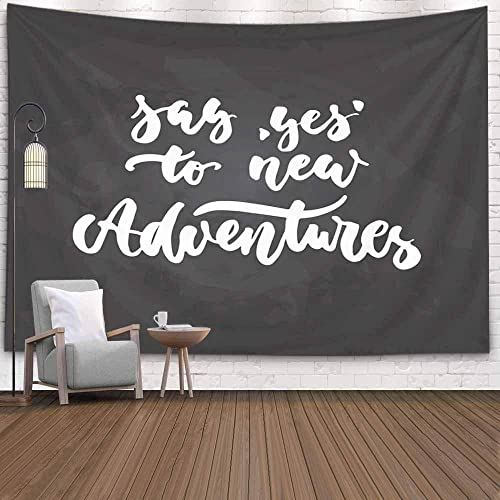 Buy Emmteey Tapestry Wall Hanging Tapestries Decor Living Room Bedroom For Say Yes To New Adventures Travel Quote In White Color The Black Chalkboard Home Inhouse By Printed 60x50 Inches For Online