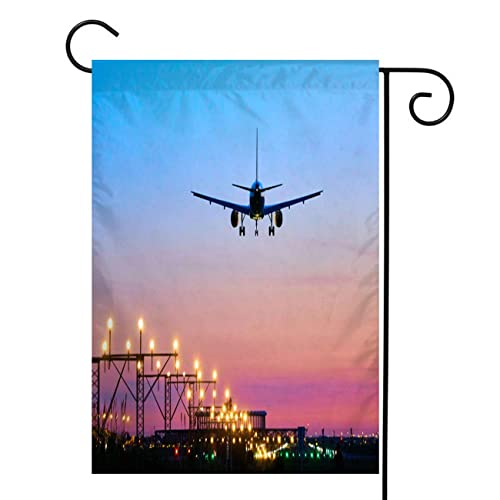 Beisicc Airplane Garden Flag Welcome Double Sided Polyester Garden Flag Landing Airplane During Sunset Barcelona El Prat Aeroport House Yard Outdoor Farmhouse Holiday Flag 20x36 Inch Buy Products Online With Ubuy Mauritius In Affordable Prices