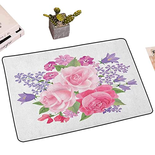 Buy Mkhufcle Pink And White Door Mat For Inside Entry Bridal Bouquet With Booming Flowers Rose Lavender Violet Corsage Front Door Mat Outdoor W30 X L47 Inch Pink Lavander Green Online In