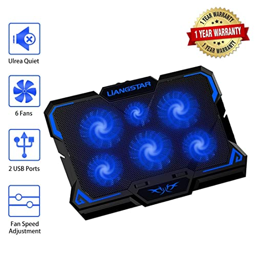 Laptop Cooling Pad Laptop Cooler With 6 Quiet Led Fans For 15 6 17 Inch Laptop Cooling Fan Stand Portable Ultra Slim Usb Powered Gaming Laptop Cooling Pad Switch Control Fan Speed Function