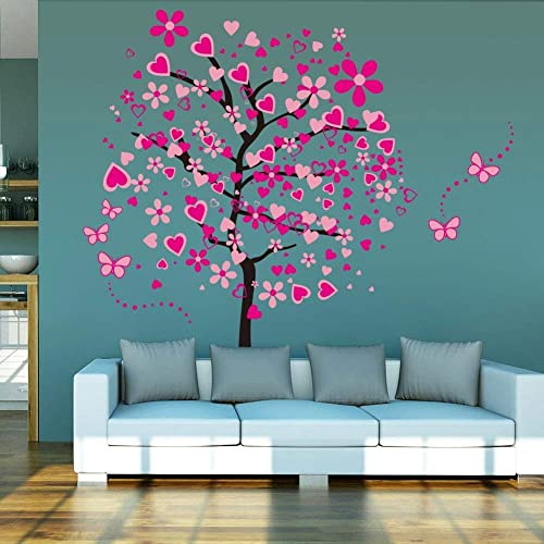 Buy Elecmotive Huge Size Cartoon Heart Tree Butterfly Wall Decals Removable Wall Decor Decorative Painting Supplies Wall Treatments Stickers For Girls Kids Living Room Bedroom Online In Mauritius B013nq8xce