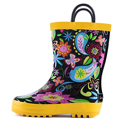 Waterproof Rubber Rainboots with Easy-On Handles Boys /& Girls landchief Kids Rain Boots