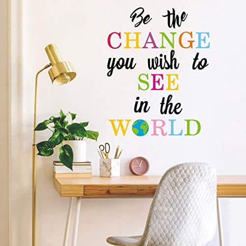 Buy Toarti Be The Change You Wish To See In The World Wall Decals Inspirational Quotes Wall Stickers Colorful Lettering Wall Art For Classroom Playroom Bedroom Decor Online In Mauritius B07x83hl3x