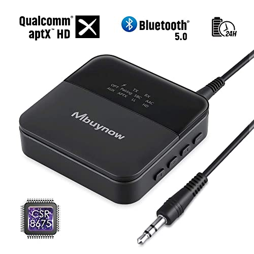 Bluetooth 5 0 Transmitter Receiver For Tv Mbuynow Rechargeable Wireless 3 5mm Audio Adapter Aptx Hd Low Latency Bluetooth Range Extender Repeater By Optical Rca For Tv Pc Car Home Stereo Buy