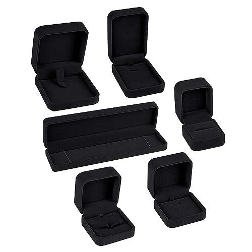 6 New Black Velvet Jewelry Gift Boxes for Bracelets
