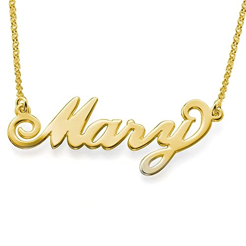 LONAGO Personalized Name Necklace with CZ Simulated Birthstone Sterling Silver Brass Custom Made Any Classic Cursive Nameplate Initial Pendant in 18K Gold Plated Birthday Jewelry Women Girls