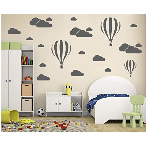 Buy Melissalove White Clouds Hot Air Balloons Nursery Kids Childs Room Vinyl Wall Art Sticker Baby Wall Decals Removable Waterproof Wallpaper D952 Grey Online In Mauritius B07ch3vfrx