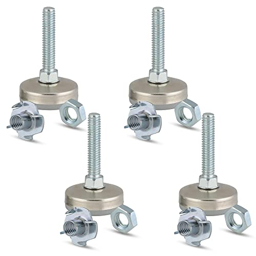 """Set of 4 3//8/""""-16 Adjustable Furniture Leg Levelers with 4 Prong T-Nuts"""