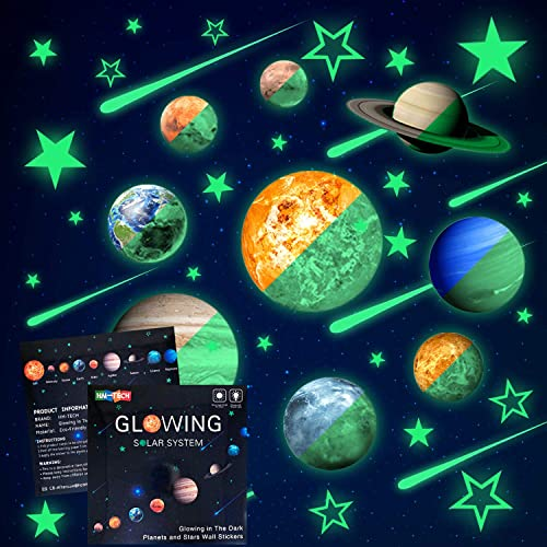 Buy Glow In The Dark Stars And Planets Bright Solar System Wall Stickers Sun Earth Mars Stars Shooting Stars And So On 9 Glowing Ceiling Decals For Bedroom Living Room Shining Space Decoration For Kids Online