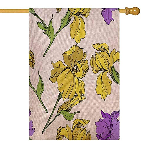 Buy Capsceoll Spring Garden Flag 28x40 Inch Vertical Double Sized Seasonal Burlap Outdoor Decorative Flags Purple Yellow Iris Floral Botanical Flower Wild Spring Leaf Wildflower Isolated Engraved Ink Art Online In Mauritius