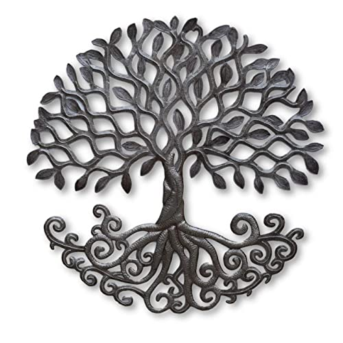 Buy Haitian Metal Tree Of Life Wall Plaque Decorative Roots Wall Hanging Art Indoor Or Outdoor Decor Handmade In Haiti No Machines Used 24 In X 24 In Curly Roots Tree Online