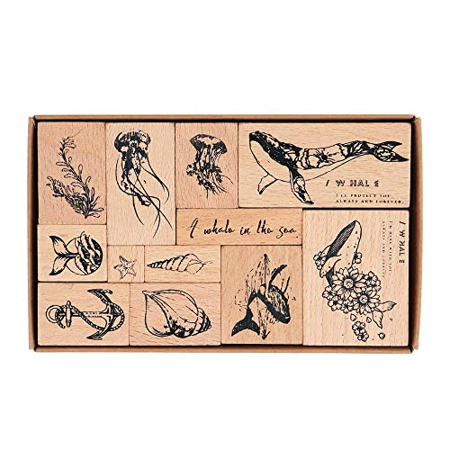 Hand Book Bullet Journal Wooden Rubber Stamps NOGAMOGA 12pcs Ocean Animals Patterns Rubber Stamp with 11 Sizes DIY Craft Planner Decor Stamps for Card Scrapbooking Arts Photo Album
