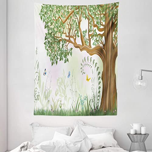 Buy Ambesonne Nature Tapestry Spring Summer View Tree Grass Butterfly Oil Painting Effect Wall Hanging Art Wall Hanging For Bedroom Living Room Dorm 60 X 80 Green Brown Online In Mauritius B01bcn4h66