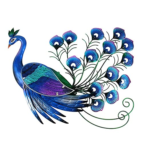 Liffy Peacock Decor Metal Outdoor Wall Art Glass Hanging Decorations Blue For Home Garden Living Room Buy Products Online With Ubuy Mauritius In Affordable Prices B07f3px2c1