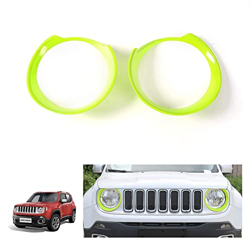 E-cowlboy Front Light Bezel Headlight Cover Trim for Jeep Renegade 2015 2016 2017 2018,Angry Birds Eye Style,Durable UV Treated ABS,Upgrade Clip in Version