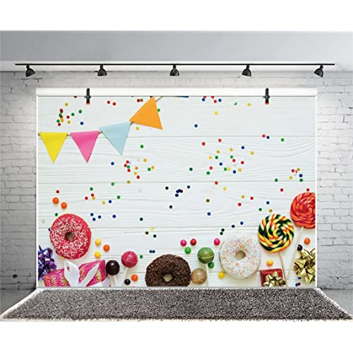 Leyiyi Sweet Dessert Backdrop 8x8ft Photography Backdrop Birthday Cake Sweet Candy Cold Ice-Cream Children Girl Birthday Party Backdrop Photo Booth Props