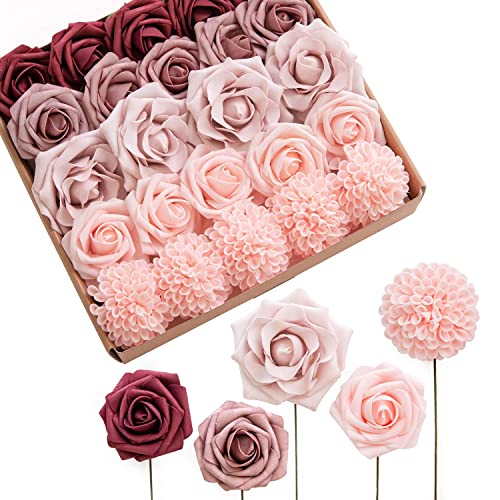 Buy Lings Moment Burgundy Dusty Rose Artificial Flowers Ombre Box Set 24pcs Realistic Fake Floral With Stem For Diy Wedding Floral Arrangement Decor Online In Mauritius B08724gvpn