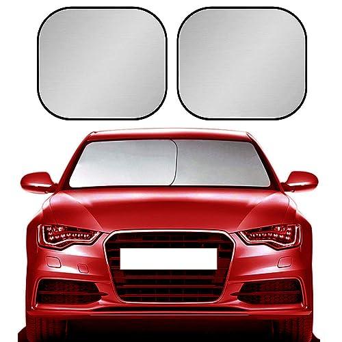 XBRN Car Windshield Sun Shade for Car 2-Piece Foldable Car Front Window Sunshade,210T Reflective Fabric Blocks UV Rays Sun Visor,Keep Your Vehicle Cool Fits Sedans SUV Truck Windshields