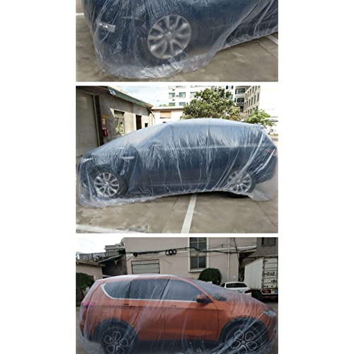 1pack TAUFAOD Disposable Car Cover Universal Car Condom Plastic Clear Transparent Waterproof w//Elastic Band Rain Dust Cover PE Protect 189x295in