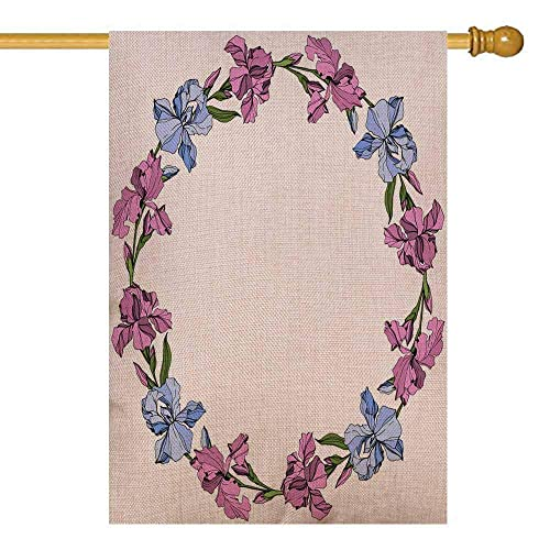 Buy Capsceoll Winter Garden Flag 28x40 Inch Vertical Double Sized Seasonal Burlap Outdoor Decorative Flags Pink And Blue Iris Floral Botanical Flower Wild Spring Leaf Wildflower Isolated Engraved Ink Art Online In