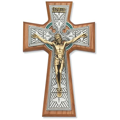 Buy All Patron Saints Celtic Crucifix Wall Cross Two Tone 8 Inch On Walnut Online In Mauritius B01m08srui