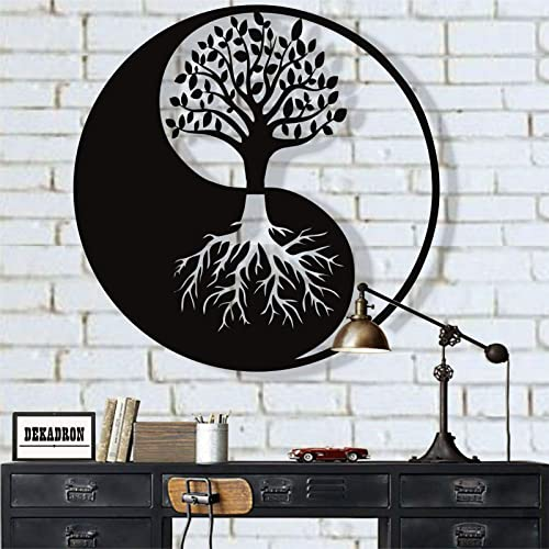 Buy Dekadron Metal Wall Art Tree Of Life Wall Art Metal Yin Yang Decor Metal Wall Decor Interior Decoration Wall Hangings 18 W X 18 H 45x45 Cm Online In Mauritius B07pxnv1t1