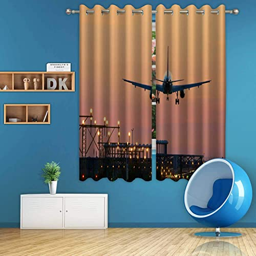 Aluoni Landing Airplane During Sunset Barcelona El Prat Aeroport Digital Art Print Polyester Window Curtains 044364 For Dining Room 59 Inch Wide X 72 Inch High Buy Products Online With Ubuy Mauritius In