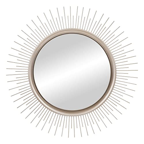 Buy Brushed Silver Sunburst Wall Accent Mirror Online In Mauritius B07j4z3797