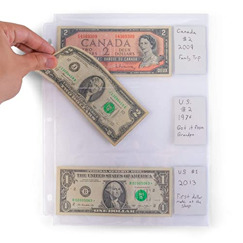 10 Pages Each 3-Pockets Currency Paper Money Bill Protector Sleeves Album Sheets