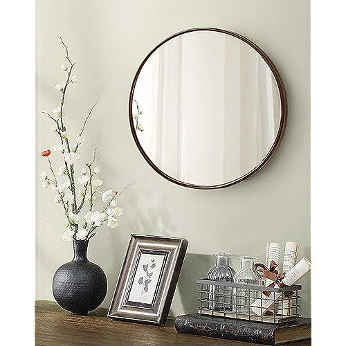 Buy Tinytimes 19 69 Clean Wall Mirror Round Vanity Mirror Dresser Mirror Wooden Frame For Entryways Living Rooms Bathroom Home Mirrors Decor Dark Brown Online In Mauritius B07n2j77bt