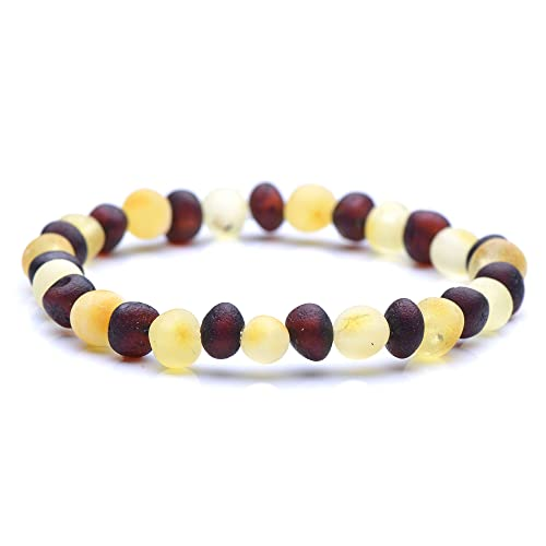 100/% Authentic Baltic Amber 7 inches, Cherry Polished Genuine Baltic Amber Bracelet for Adult Choose Your Color and Choose Your Size! 3 Sizes and 10 Different Colors